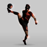 Abstract kicking in the air. Abstract soccer player kicking in the air Royalty Free Stock Image