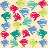 Abstract kids seamless pattern with cute fantasy colorful fish Royalty Free Stock Photo