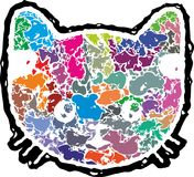Abstract kittens face. Vector colorful art with cat Stock Image