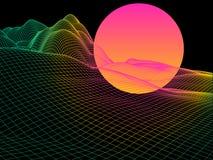 Abstract kleurenlandschap met gebiedzon op horizon futuristisch Stock Illustratie