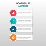 Abstract kleurrijk cirkeletiket met elementen vergrootglas de bedrijfs van Infographics, vlakke het ontwerpvector van het present Stock Foto's