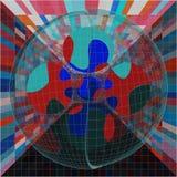 Abstract Kleurrijk Crystal Sphere In Box Puzzle stock illustratie