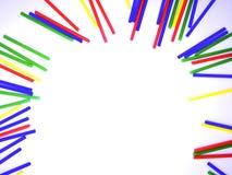 Abstract kleurrijk die de stokkenkader van het close-uplandschap op witte achtergrond wordt geïsoleerd Stock Afbeelding