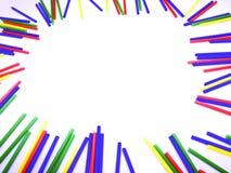 Abstract kleurrijk die de stokkenkader van het close-uplandschap op witte achtergrond wordt geïsoleerd Stock Fotografie