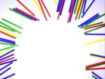 Abstract kleurrijk die de stokkenkader van het close-uplandschap op witte achtergrond wordt geïsoleerd Royalty-vrije Stock Foto
