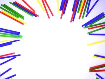 Abstract kleurrijk die de stokkenkader van het close-uplandschap op witte achtergrond wordt geïsoleerd Royalty-vrije Stock Fotografie