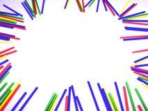 Abstract kleurrijk die stokkenkader op witte achtergrond wordt geïsoleerd Stock Foto