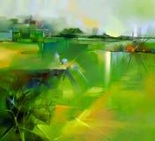 Abstract kleurrijk geel en groen olieverfschilderijlandschap stock illustratie
