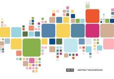 Abstract kleurrijk geometrisch vierkant grenspatroon op witte backg stock illustratie