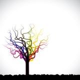 Abstract, kleurrijk grafisch boomsymbool op grondwi Stock Foto