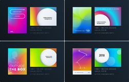 Abstract kleurrijk grafisch ontwerp van brochure in vloeibare vloeibare stijl met vage vlotte achtergrond reeks stock illustratie