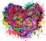 Abstract kleurrijk hart van rozen. Stock Afbeeldingen