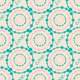 Abstract kleurrijk hipster naadloos patroon met rondes en het van letters voorzien tekenliefde Royalty-vrije Stock Foto's