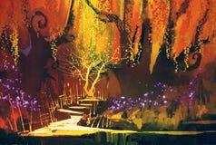 Abstract kleurrijk landschap, fantasiebos Stock Afbeeldingen