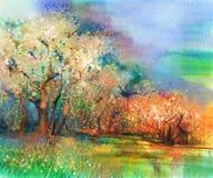 Abstract kleurrijk landschapsolieverfschilderij Stock Foto's