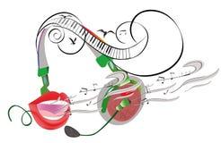 Abstract kleurrijk muzikaal afficheontwerp met hoofdtelefoons en muzikale golven royalty-vrije illustratie