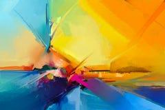 Abstract kleurrijk olieverfschilderij op canvas stock illustratie