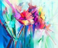 Abstract kleurrijk olieverfschilderij op canvas Semi abstract beeld van bloemen Stock Fotografie