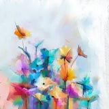 Abstract kleurrijk olieverfschilderij op canvas Semi abstract beeld van bloemen vector illustratie