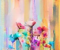 Abstract kleurrijk olieverfschilderij op canvas Semi abstract beeld van bloemen Royalty-vrije Illustratie