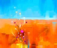 Abstract kleurrijk olieverfschilderijlandschap op canvas Stock Foto