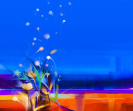 Abstract kleurrijk olieverfschilderijlandschap op canvas Royalty-vrije Stock Afbeeldingen