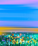 Abstract kleurrijk olieverfschilderijlandschap op canvas Royalty-vrije Stock Foto