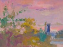 Abstract kleurrijk olieverfschilderijlandschap op canvas Semi abstract beeld van boom en groen gebied met multicolored hemel Stock Afbeelding