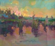 Abstract kleurrijk olieverfschilderijlandschap op canvas Semi abstract beeld van boom en groen gebied met multicolored hemel Royalty-vrije Stock Afbeelding