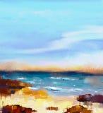 Abstract kleurrijk olieverfschilderijzeegezicht stock illustratie