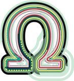 Abstract kleurrijk omega teken royalty-vrije illustratie