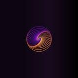 abstract kleurrijk rond vormembleem, ruimteelement, werveling logotype, planeetpictogram op zwarte vector als achtergrond royalty-vrije illustratie