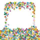 Abstract Kleurrijk Squarish Gevormd Tekstcomité met Confettienstukjes stock illustratie