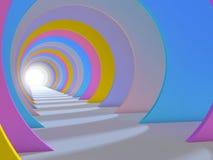 Abstract kleurrijk tunnelbinnenland 3d geef terug Stock Fotografie