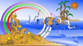 Abstract kleurrijk zeegezicht Royalty-vrije Stock Foto's