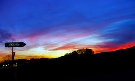 Abstract kleurrijk zonsonderganglandschap met boomsilhouet Stock Afbeelding