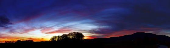 Abstract kleurrijk zonsonderganglandschap met boomsilhouet Royalty-vrije Stock Foto