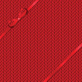 Abstract knitted pattern with red ribbon Royalty Free Stock Images