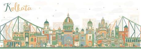 Abstract Kolkata Skyline with Color Landmarks. Stock Photo