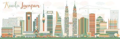 Abstract Kuala Lumpur Skyline met Kleurengebouwen Stock Afbeeldingen