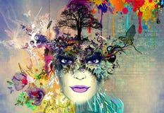 Abstract kunstbeeld met vrouw vector illustratie