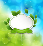 Abstract label with eco green leaves and ribbon Royalty Free Stock Photography