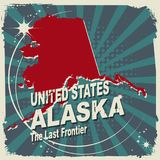Abstract label with name and map of Alaska. Vector illustration royalty free illustration