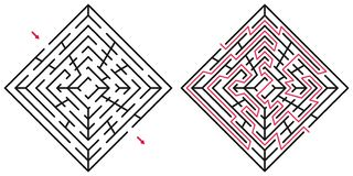 Abstract labyrint/labyrint met ingang en uitgang Stock Afbeeldingen