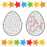 Abstract labyrinth in the form of an egg. Black Stroke. A game for children. With the answer. Lovely stars. Simple flat vector ill. Ustration isolated on white Stock Image