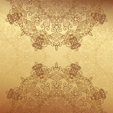 Abstract lace decoration , gold background Stock Photo