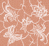 Abstract lace with elements of flowers, leaves and butterfly Royalty Free Stock Photography