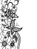 Abstract lace with elements ofv flowers, leaves and butterfly. Abstract silhouettes of decorative flowers, leaves and butterfly. These decorative ornament are Royalty Free Stock Photos