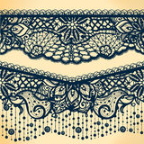 Abstract Lace Ribbon banners, Arabic stripes pattern. Royalty Free Stock Images