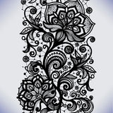 Abstract lace ribbon seamless pattern with elements flowers. Stock Image